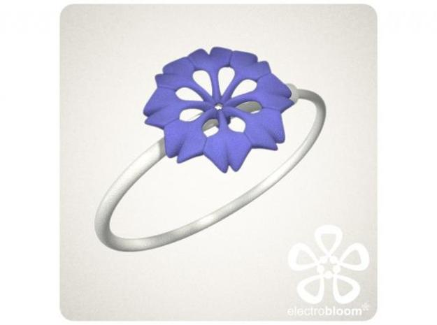 Rachel flower charm. 3d printed INDIGO RACHEL FLOWER CHARM ON WHITE SNAP BANGLE