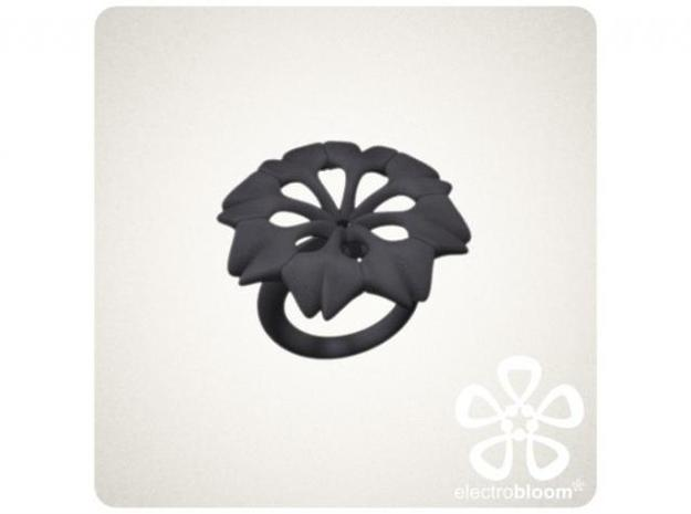 Rachel flower charm. 3d printed DARK GREY RACHEL FLOWER CHARM ON BLACK SNAP RING