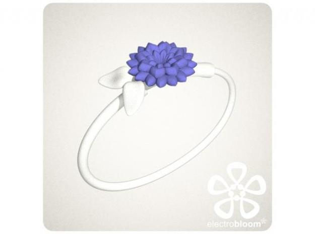 Louise leaf charm. 3d printed WHITE LOUISE LEAF CHARM WITH INDIGO BETTY FLOWER CHARM ON WHITE SNAP BANGLE