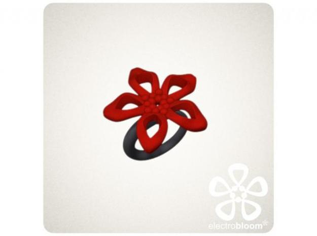 Elizabeth flower charm. 3d printed RED ELIZABETH FLOWER CHARM ON BLACK SNAP RING