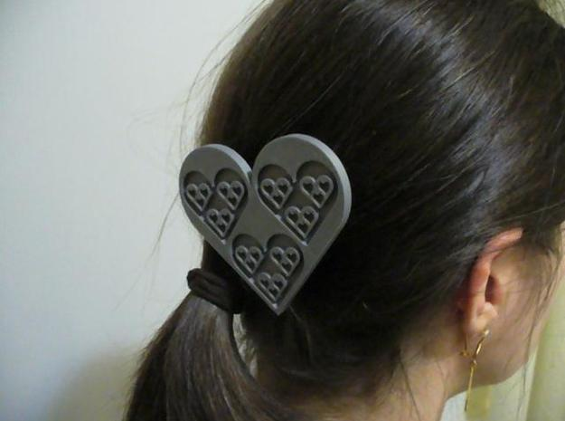 Fractal Heart Barrette 3d printed Barrette with Model