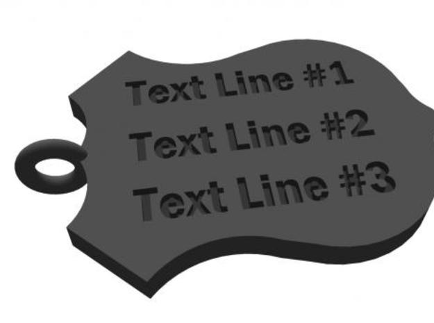 Police Shield Pet Tag / Key Fob 3d printed rendering of back side