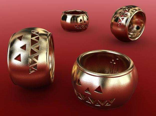 Pumpkin Ring 3d printed Gold plated matte