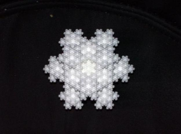 Koch Snowflake Solid 3d printed Photographed with flash to bring out more details. The WSF material is very, very white!