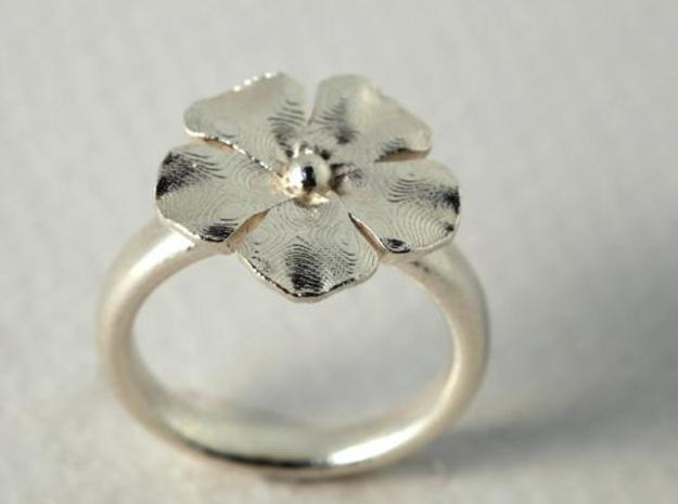 new ring flower S53 3d printed silver