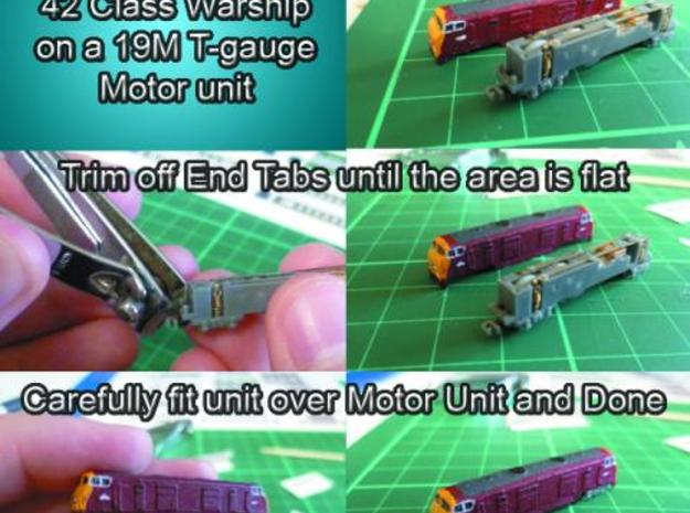 BR Warship 42 Class Old Model TGauge 3d printed How to attach to motor unit