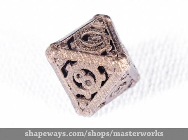 Steampunk d8 3d printed Antique Bronze Gloss