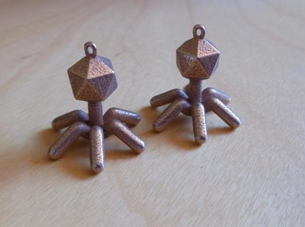T4 Phage Earings 3d printed In Stainless Steel