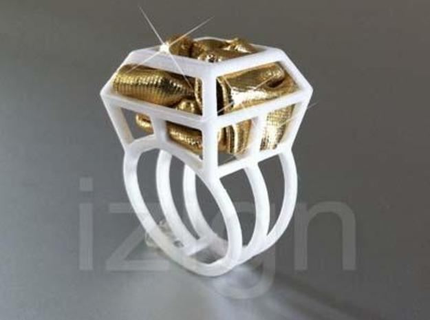 ring06 19 3d printed White Strong & Flexible Polished dressed up with a piece of gold fabric