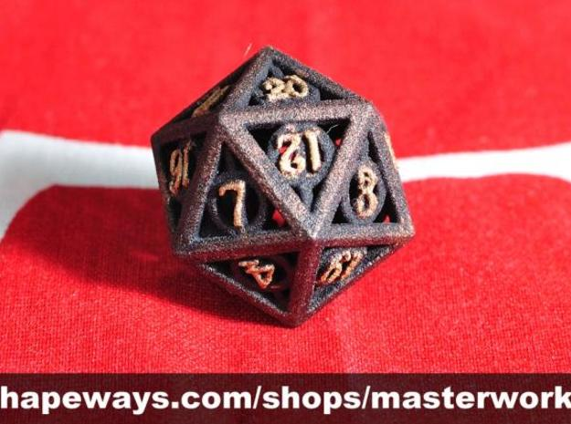 Deathly Hallows d20 3d printed Plastic with Copper & Gold Rub'n'Buff