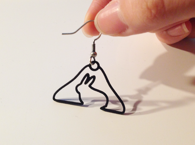 Rabbit Hanger Earring 3d printed