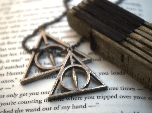 Deathly Hallows Necklace - Medium 3d printed Pictured with the larger rotating version