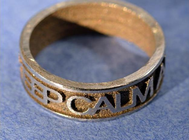 "Size 11 Steel Ring ""KEEP CALM & CARRY ON"" 3d printed p2"
