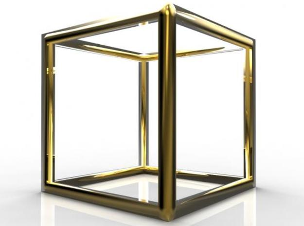 Cube Pendant 3d printed Gold Glossy