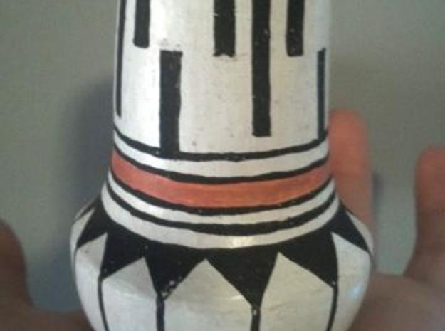 Kreg Jones / Lewis Pot 01 3d printed Hand built Acoma Pueblo style pot. Materials: Sacred clay and glazes made from ground stones. Painted with a yucca brush and then open pit dung fired.