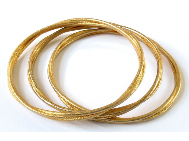 Three loops bangle 3d printed Printed in polished gold steel