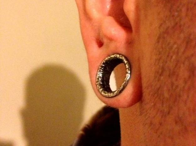 Silver Double Flared Flesh Tunnel Plugs - Pair 3d printed Silver Glossy with aftermarket patina