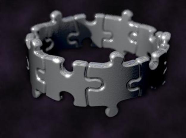 Puzzle Ring 01 size 8 3d printed Rendered to simulate silver