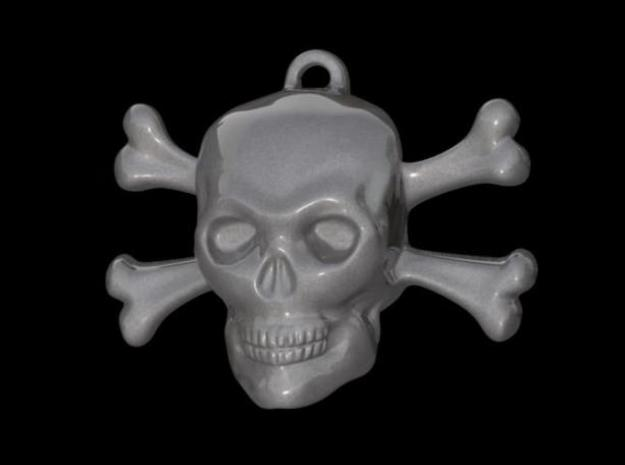 skull and bones pendant 3d printed rendering