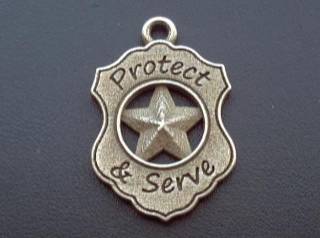 Police Badge Pet Tag / Pendant / Key Fob 3d printed Shown in plain stainless steel finish