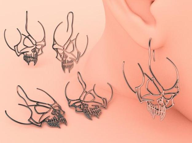 Tribal Skull earring 3d printed Silver render
