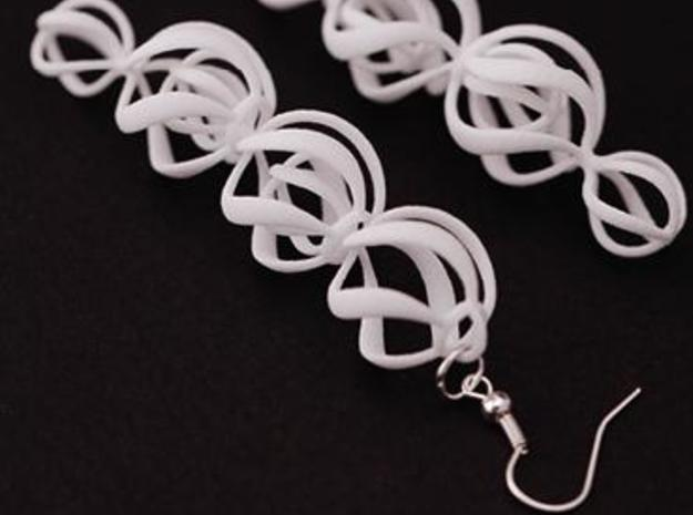 SWIRL - earrings 3d printed White