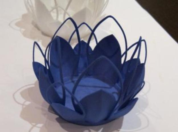 Tea-light - Flower 3d printed indigo, white