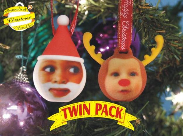 FatherChris&Reindeer baubles twinpack(personalise) 3d printed front view