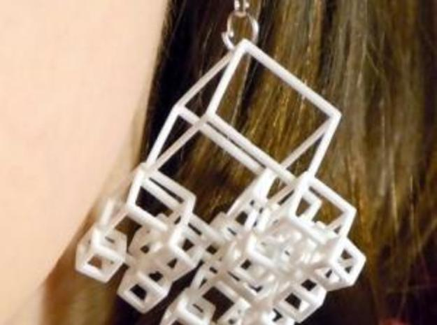 1+4+4×4 Cubes Earrings 3d printed (polished WSF)