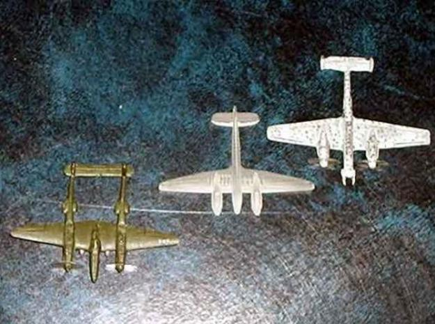 1/300 Focke-Wulf FW187 x 2 3d printed Comparison of this model in unpainted FUD with a P-38 Lightning and a Bf 110 night fighter