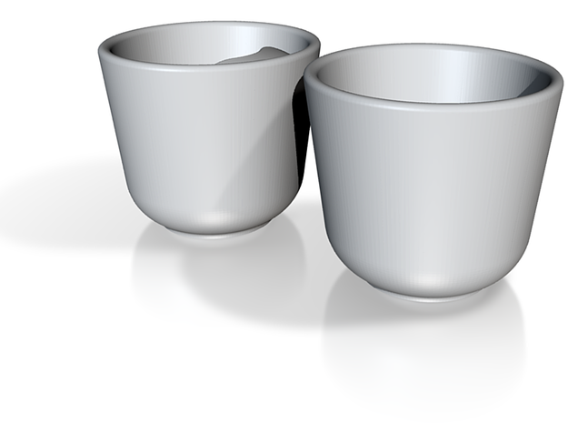 His and Her Espresso Cups 3d printed