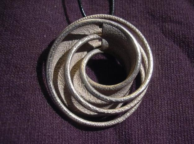 Twin Rail Mobius Pendant - small 3d printed Photo - 3D printed in stainless steel