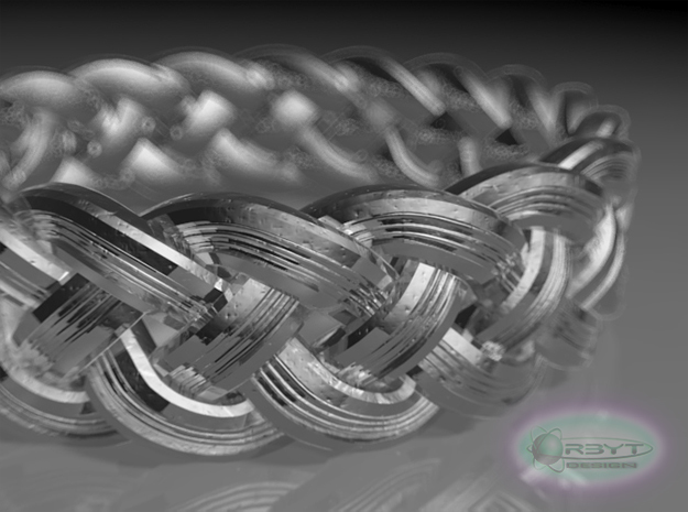 Best Celtic Knot Ring Std ring size 5 3d printed Raytraced DOF close up render - simulating raw silver material