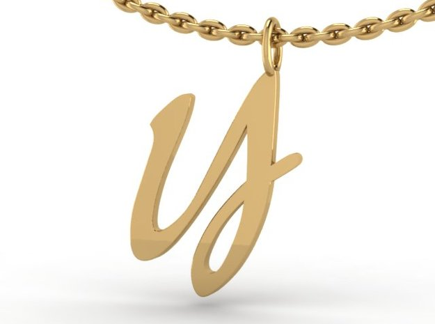 Y Classic Script Initial Pendant 3d printed rendering on cable chain