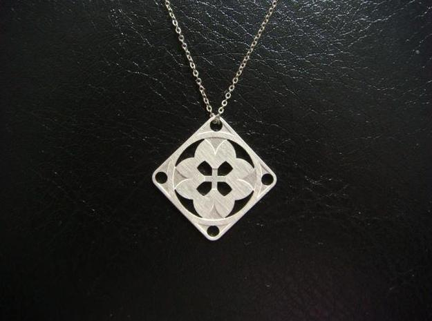 Square Pendant or Charm - Eight Petals Crossed 3d printed Silver - Chain not included