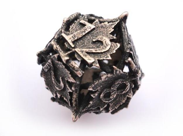 Botanical Die12 (Maple) 3d printed In stainless steel and inked