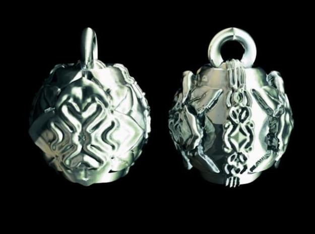 Stylized Lotus Earrings 3d printed Polished Silver