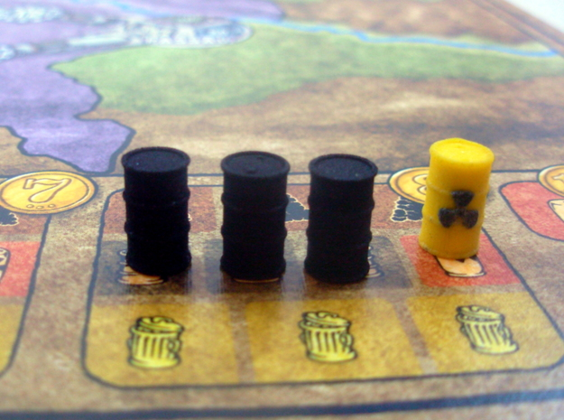 Oil Barrel 3d printed Example of oil barrel uses in the board game Power Grid