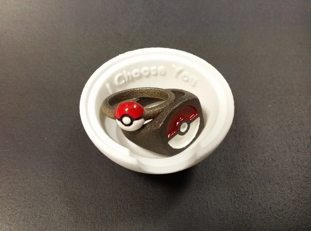 Pokeball Ring Box 3d printed White Strong and Flexible
