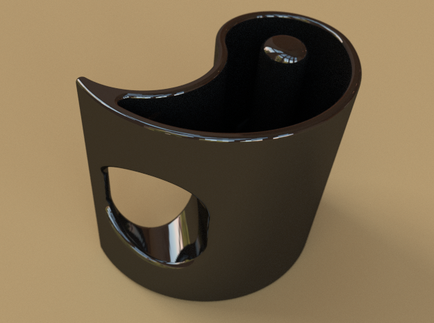 Yin-Yang Espresso Cup, anticlockwise variant 3d printed What it would look like if you ordered it in in black ceramic.