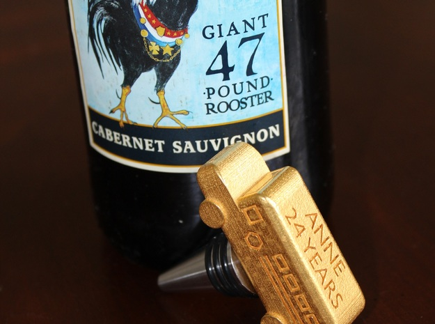 School Bus Wine Topper 3d printed School Bus Wine Stopper (in Gold Polished Steel)