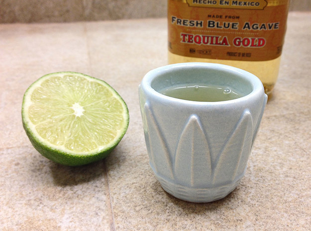 Blue Agave Leaf Ceramic Shot Glass 3d printed Blue Agave Leaf Shot Cup - Eggshell Blue Glossy