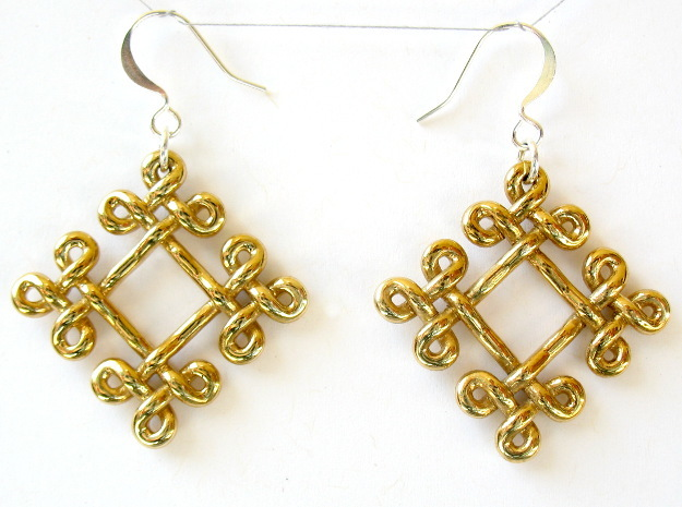 Fractal Celtic knot earrings 3d printed Printed in polished brass, with earwires added (earwires not included!)