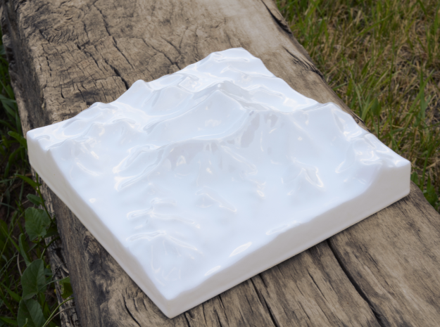 6''/15cm Mt. Everest, China/Tibet, Ceramic 3d printed Photo of actual print seen from Southwest and overhead