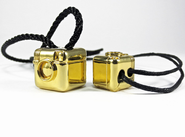 Instagram Style Camera (Pendant 20mm) 3d printed 20mm / 16mm - Polished Brass