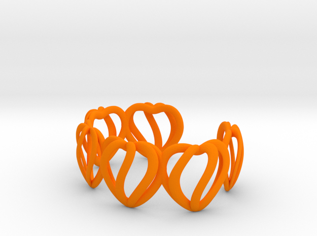 Heart Cage Bracelet (5 large hearts) 3d printed