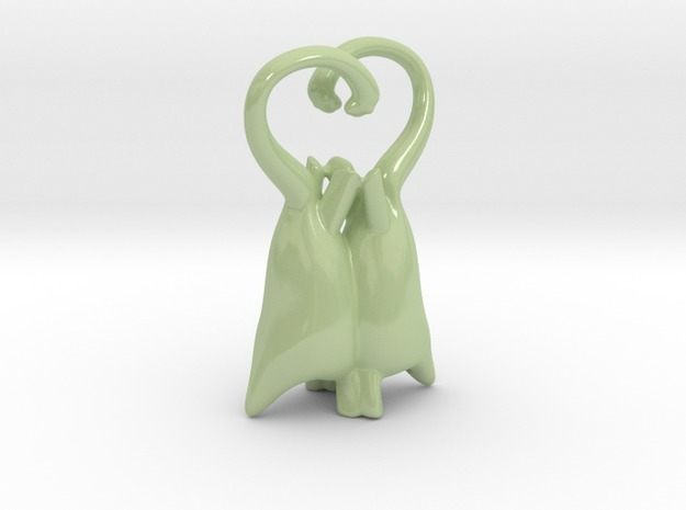 Brontosauri in Love Heart Statue 3d printed