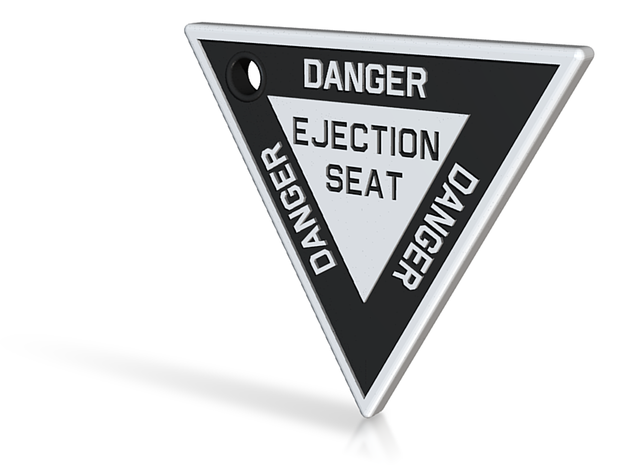 2.5 inch KeyChain DANGER EJECTION SEAT White on Bl 3d printed