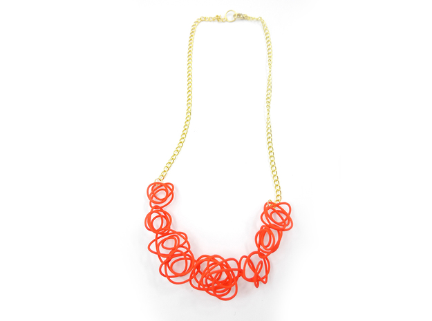 Sprouted Spirals Necklace (Chain) 3d printed Custom Dyed Color (Coral)