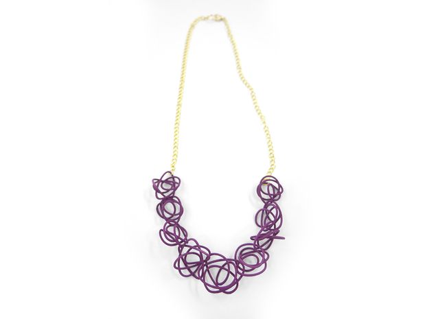 Sprouted Spirals Necklace (Chain) 3d printed Custom Dyed Color (Eggplant)